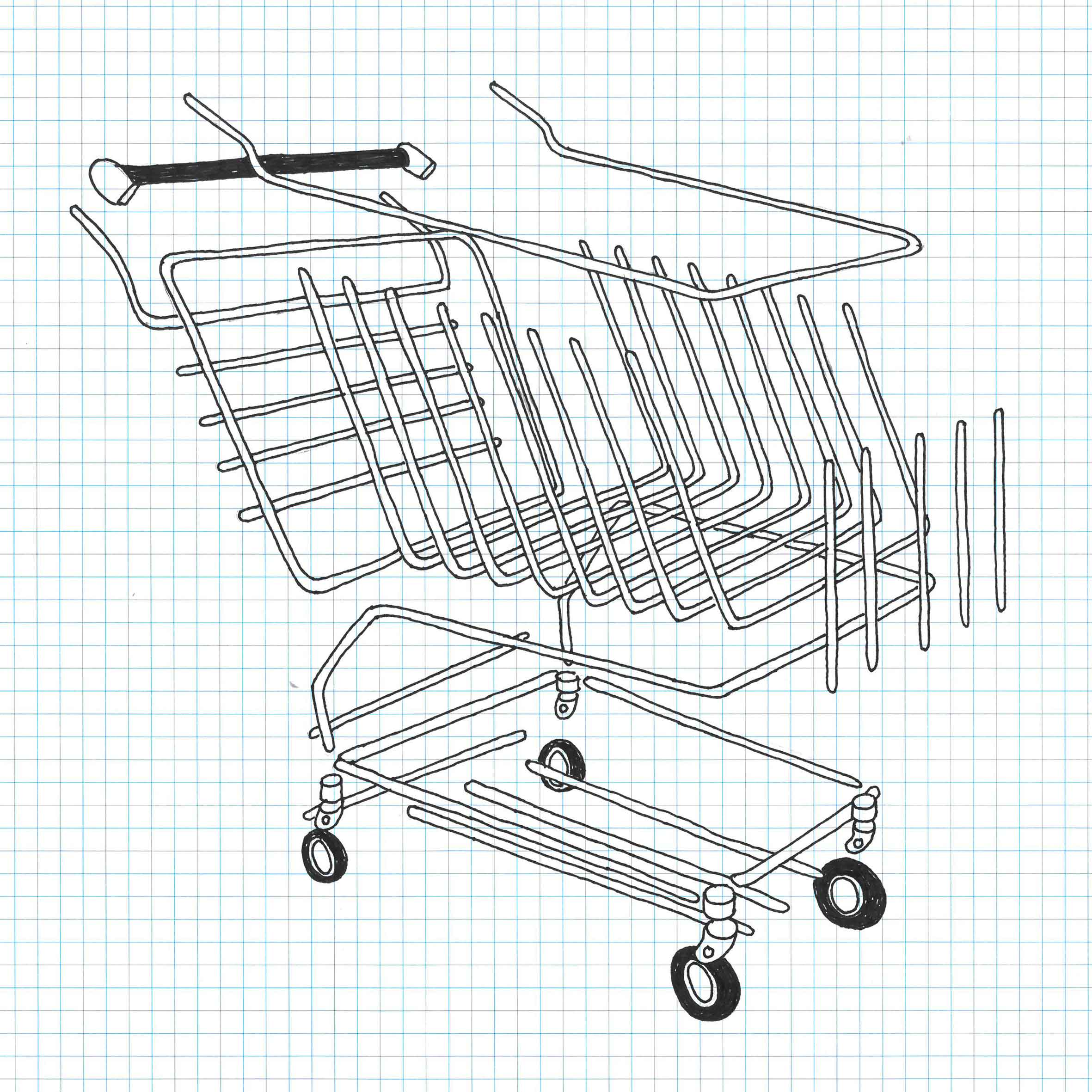 EXPLODED SHOPPING TROLLEY